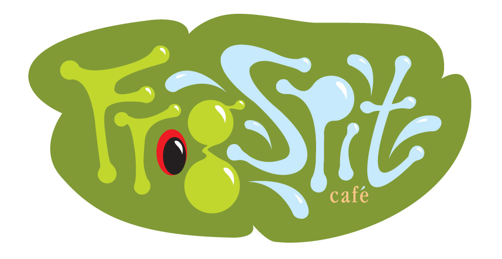 Frog Spit Café vector illustration logo.