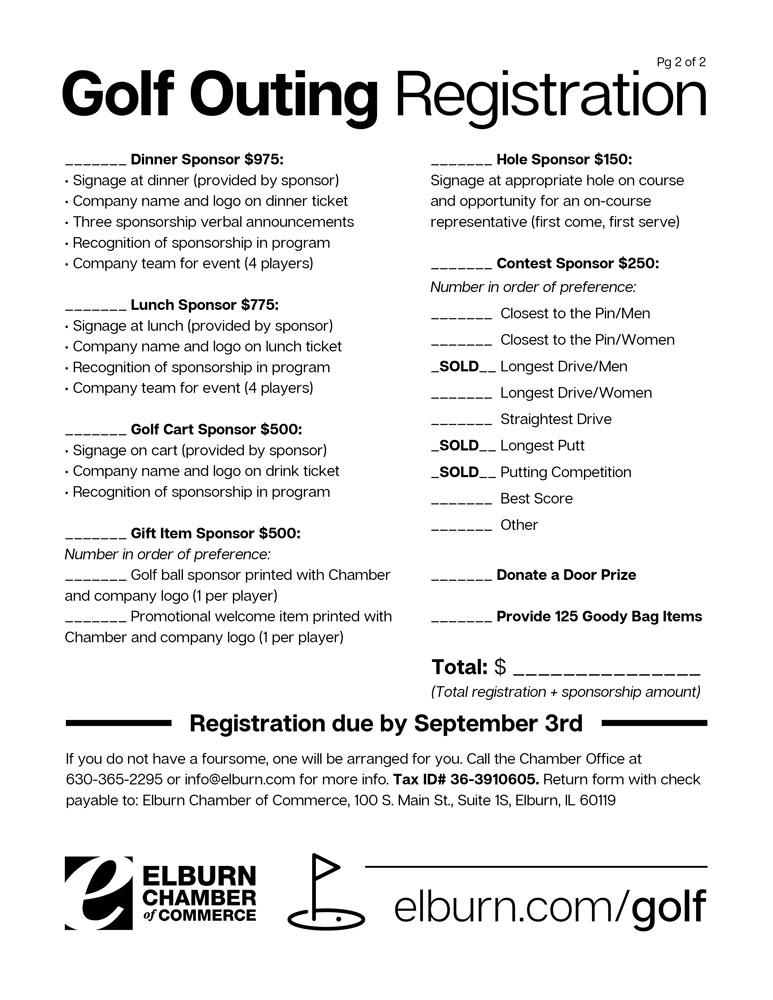 Elburn Chamber Golf Outing Form